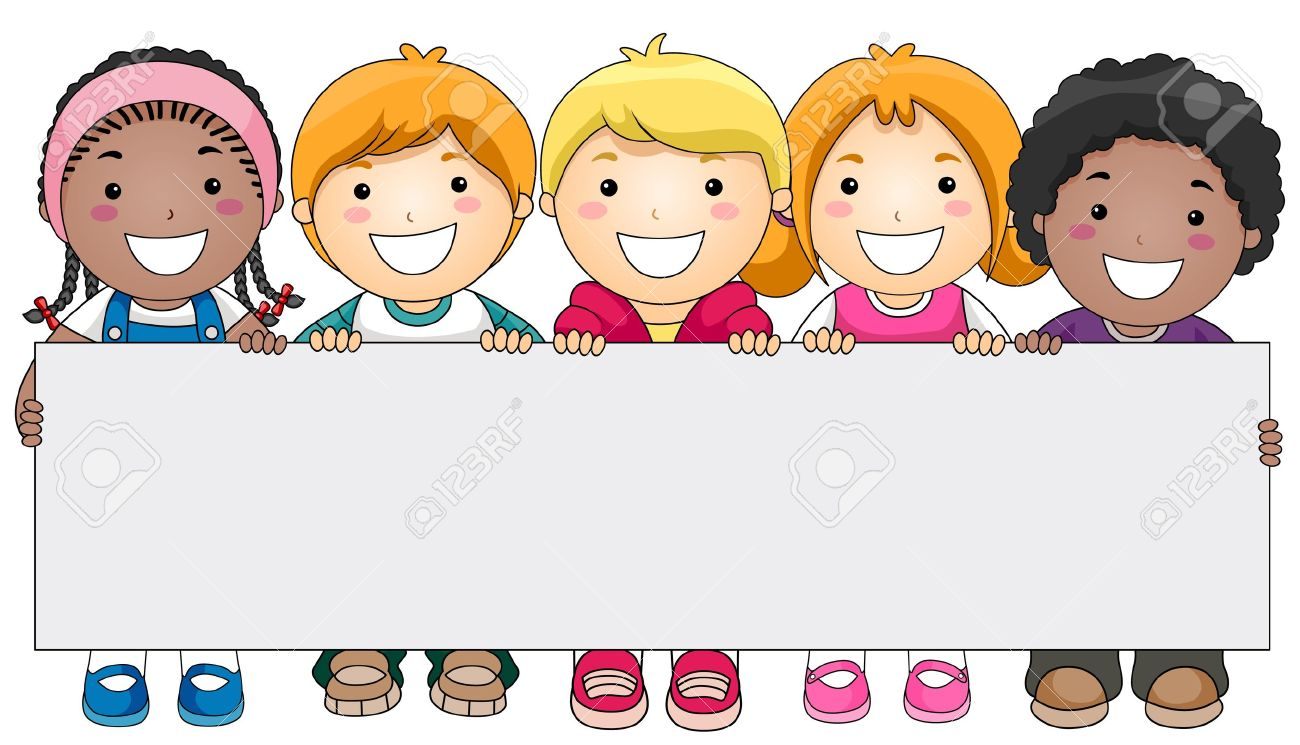 kids with a blank board against white background stock photo rh 123rf com Happy Holidays Clip Art clip art kids playing