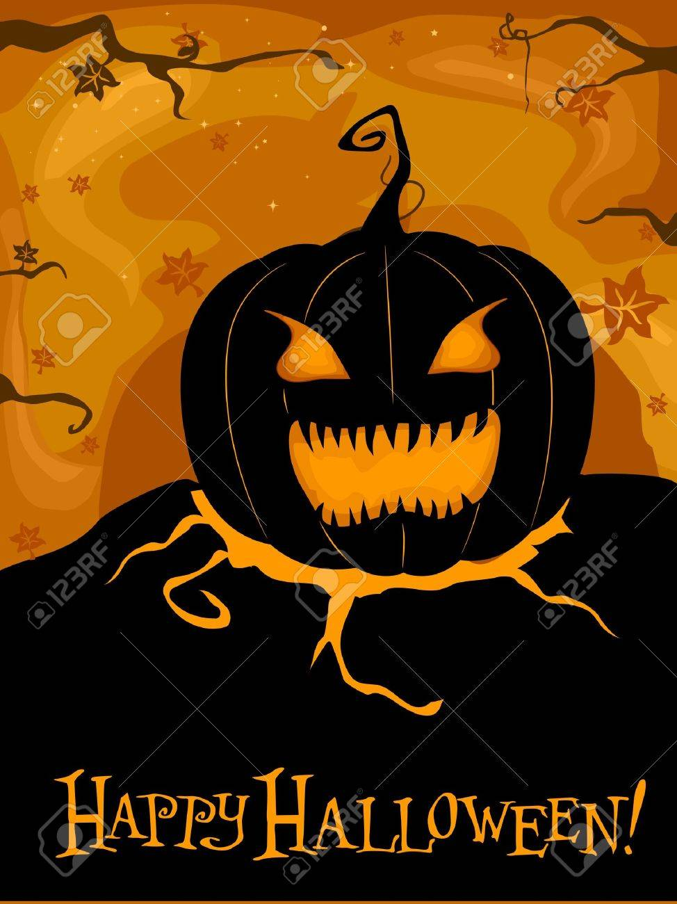 Halloween-themed Design Featuring a Creepy Jack-o-Lantern Stock Photo - 8141029