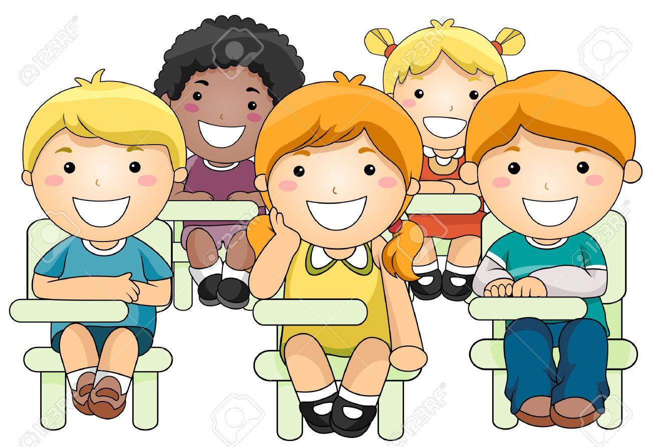 Schulklasse im unterricht clipart  Illustration Einer Kleinen Gruppe Von Kindern Innerhalb Eines ...