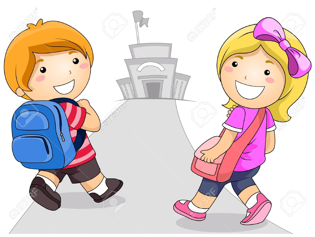 illustration featuring a young boy and girl going to school stock