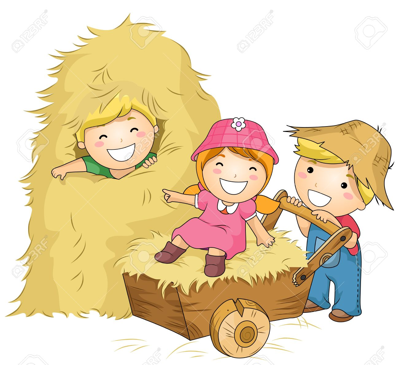 Illustration of Kids Playing with Haystacks and a Wheelbarrow Stock Illustration - 8230123