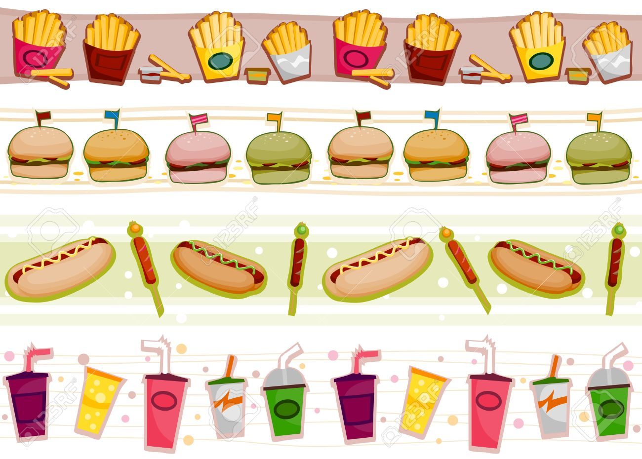 four border designs of fast food products stock photo picture and