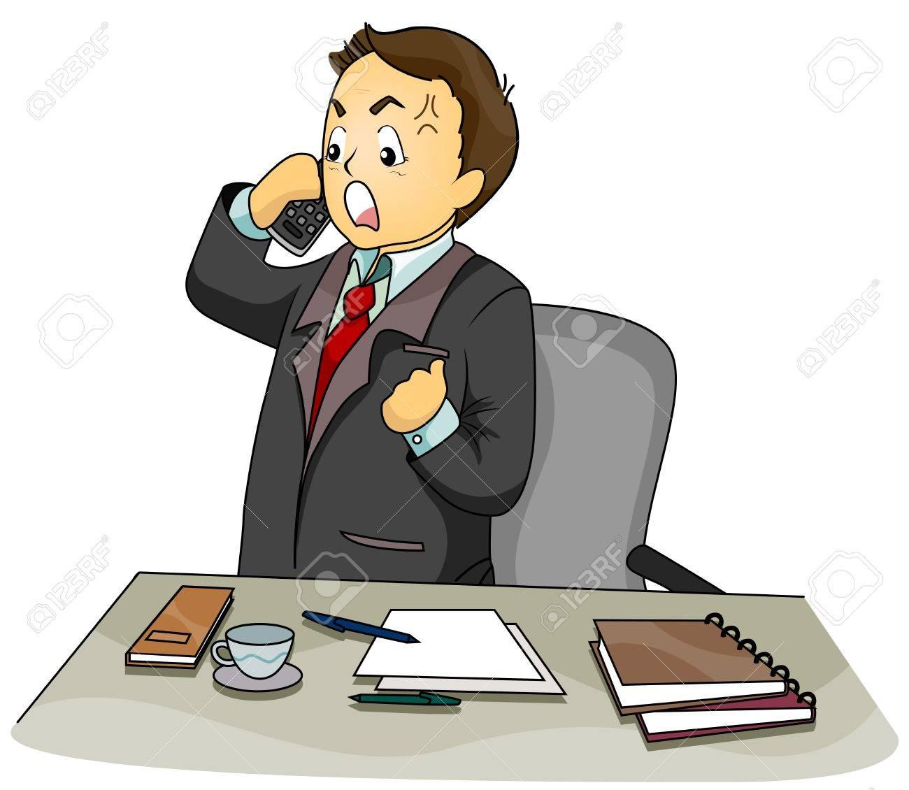 Illustration Featuring an Upset Businessman Talking on the Phone Stock Illustration - 8268608