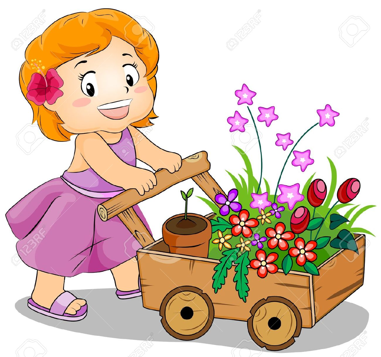 illustration featuring a young pushing a cart of flowers