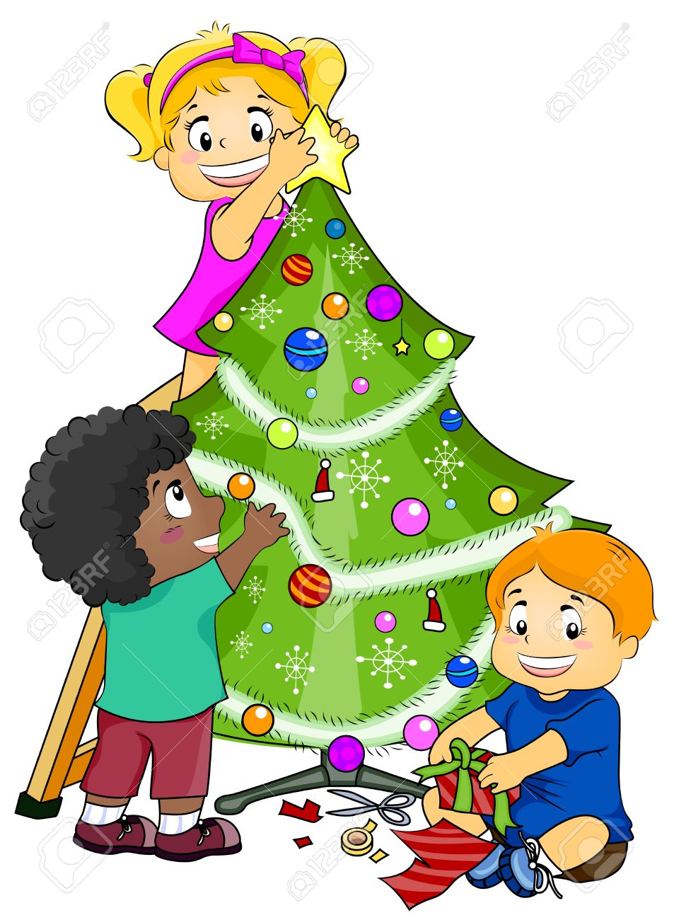illustration featuring kids decorating a christmas tree stock