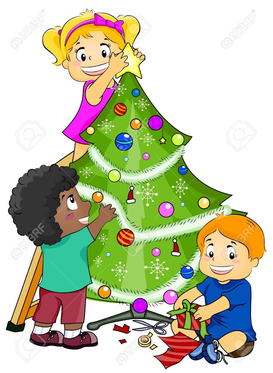 Kids Decorating For Christmas illustration featuring kids decorating a christmas tree stock