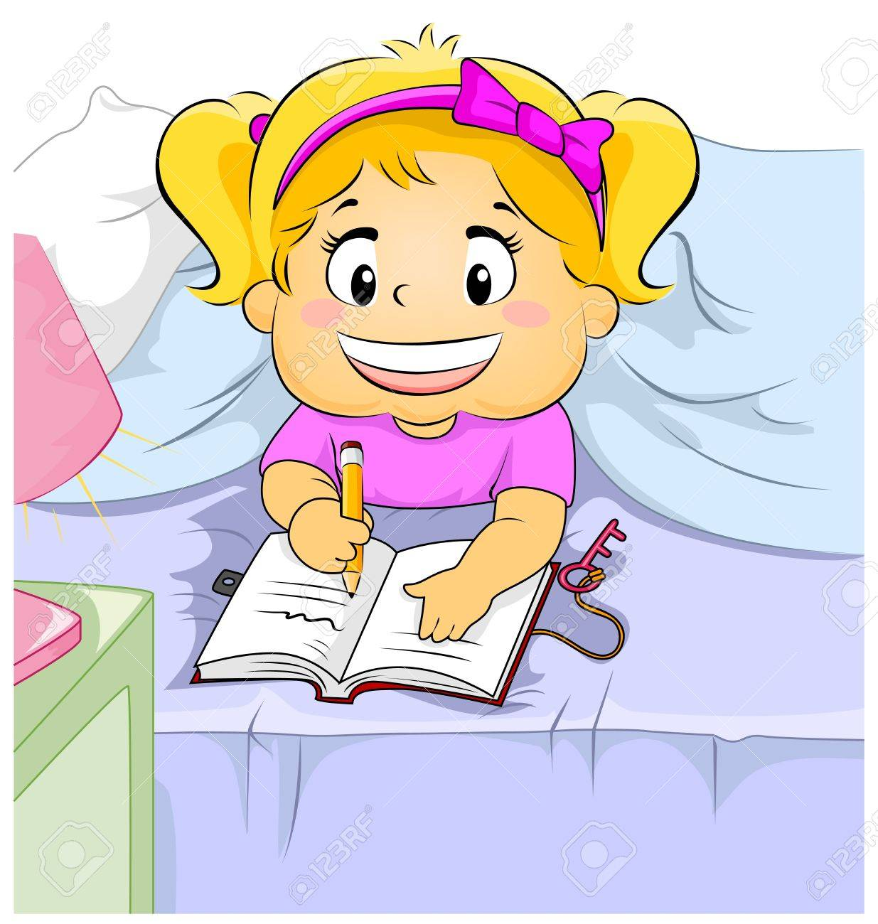 illustration of a young girl writing in her diary stock photo