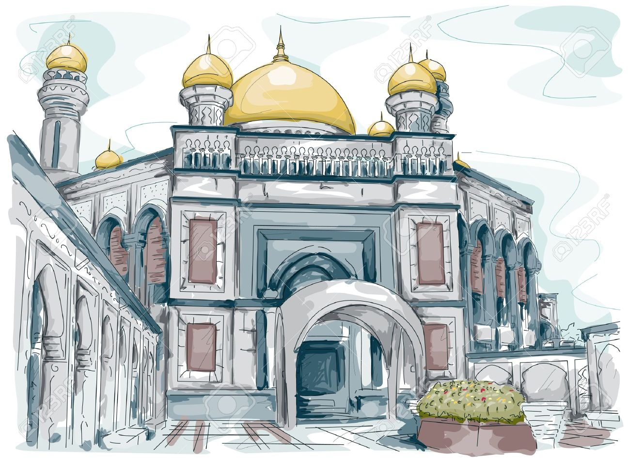 Sketch of a Mosque in Brunei Stock Photo - 8268741