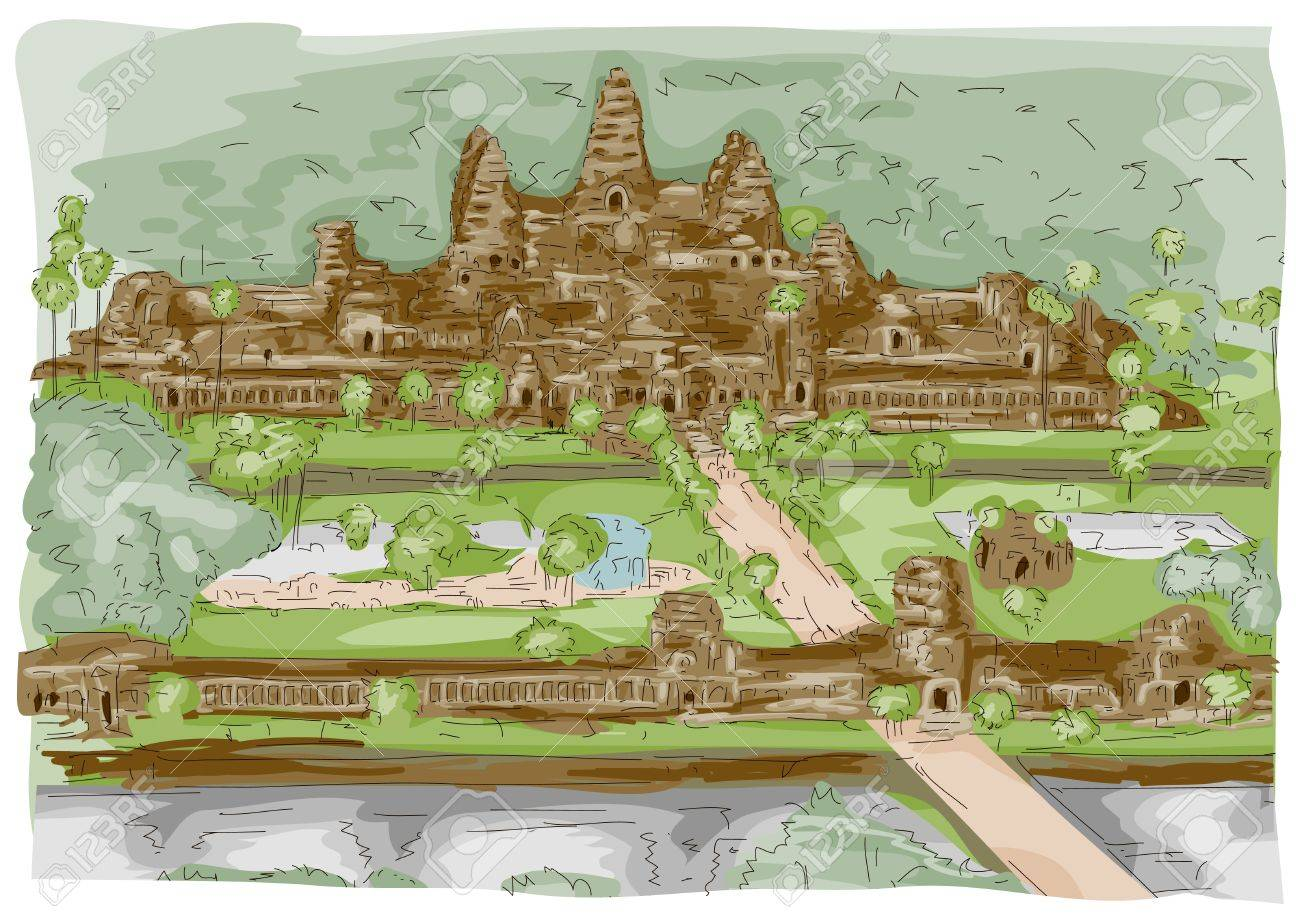 Sketch of Angkor Wat in Cambodia Stock Photo - 8268744
