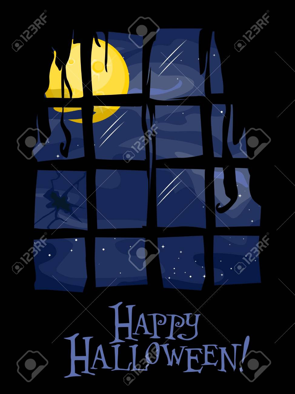 Silhouette of a Damaged Window with a Bright Full Moon in the Background Stock Photo - 8268566