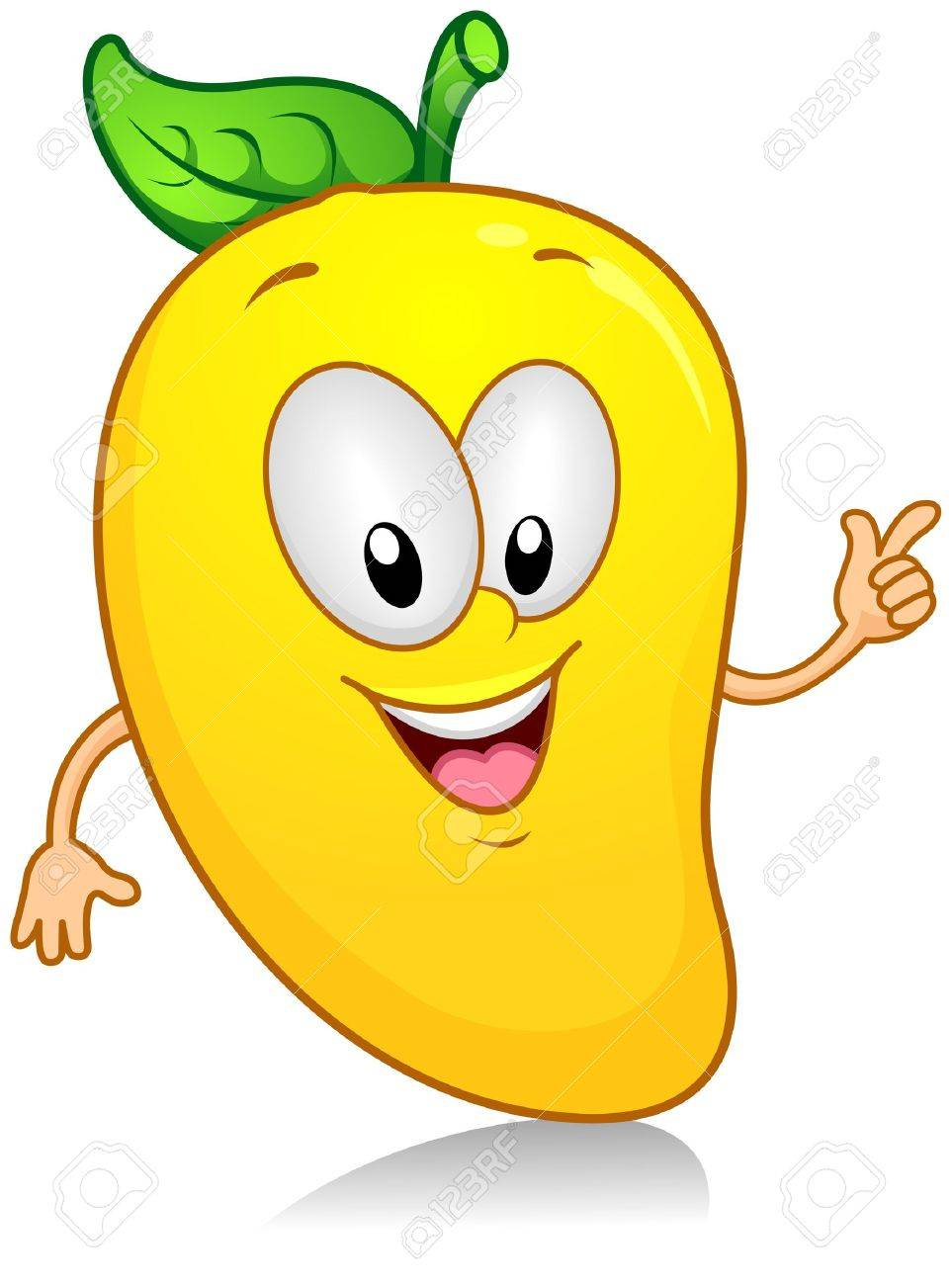 Illustration of a Mango Character Gesturing Something with its Arm Stock Illustration - 8268574