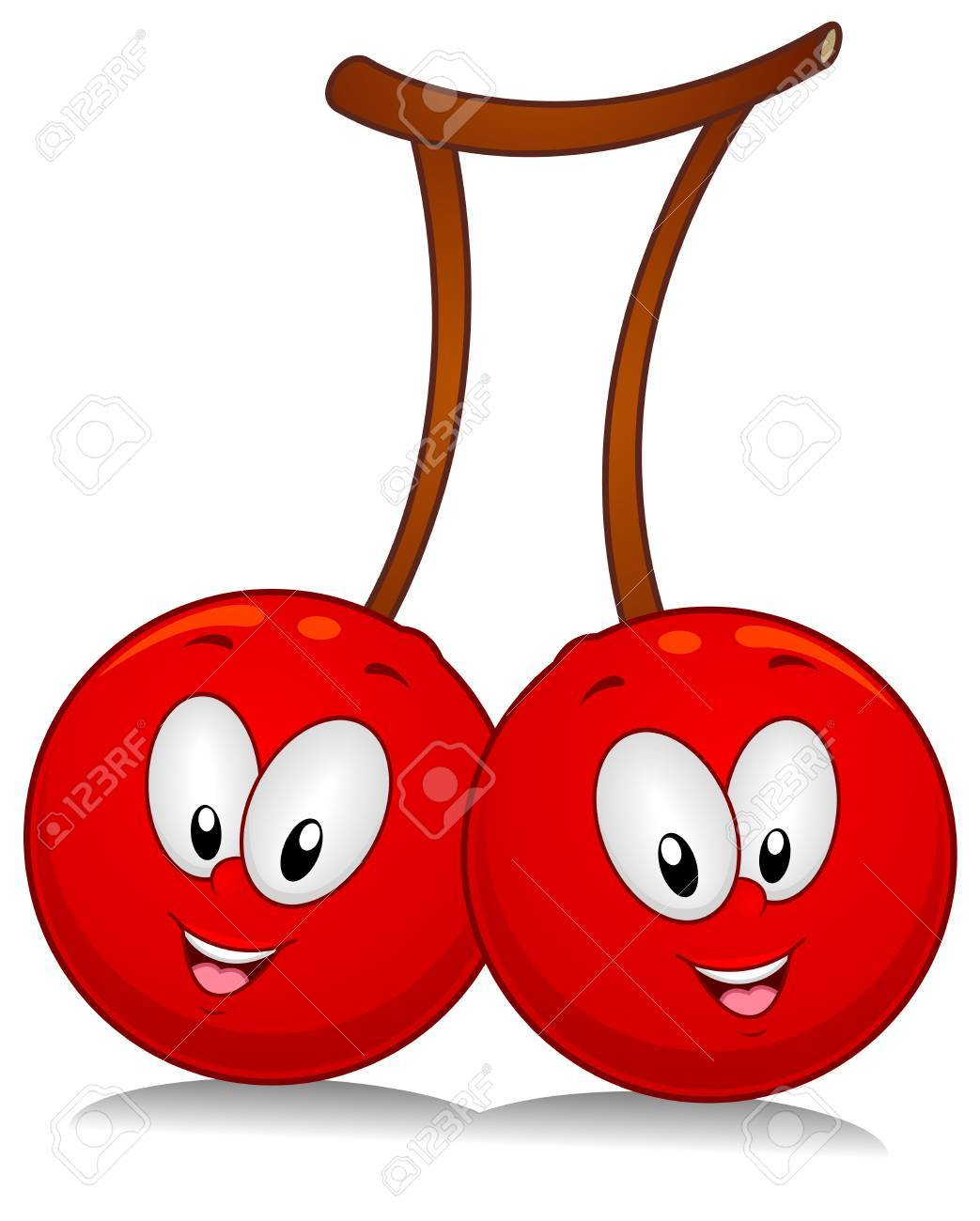 A Pair of Cherry Characters Poised Side by Side Stock Photo - 8268569