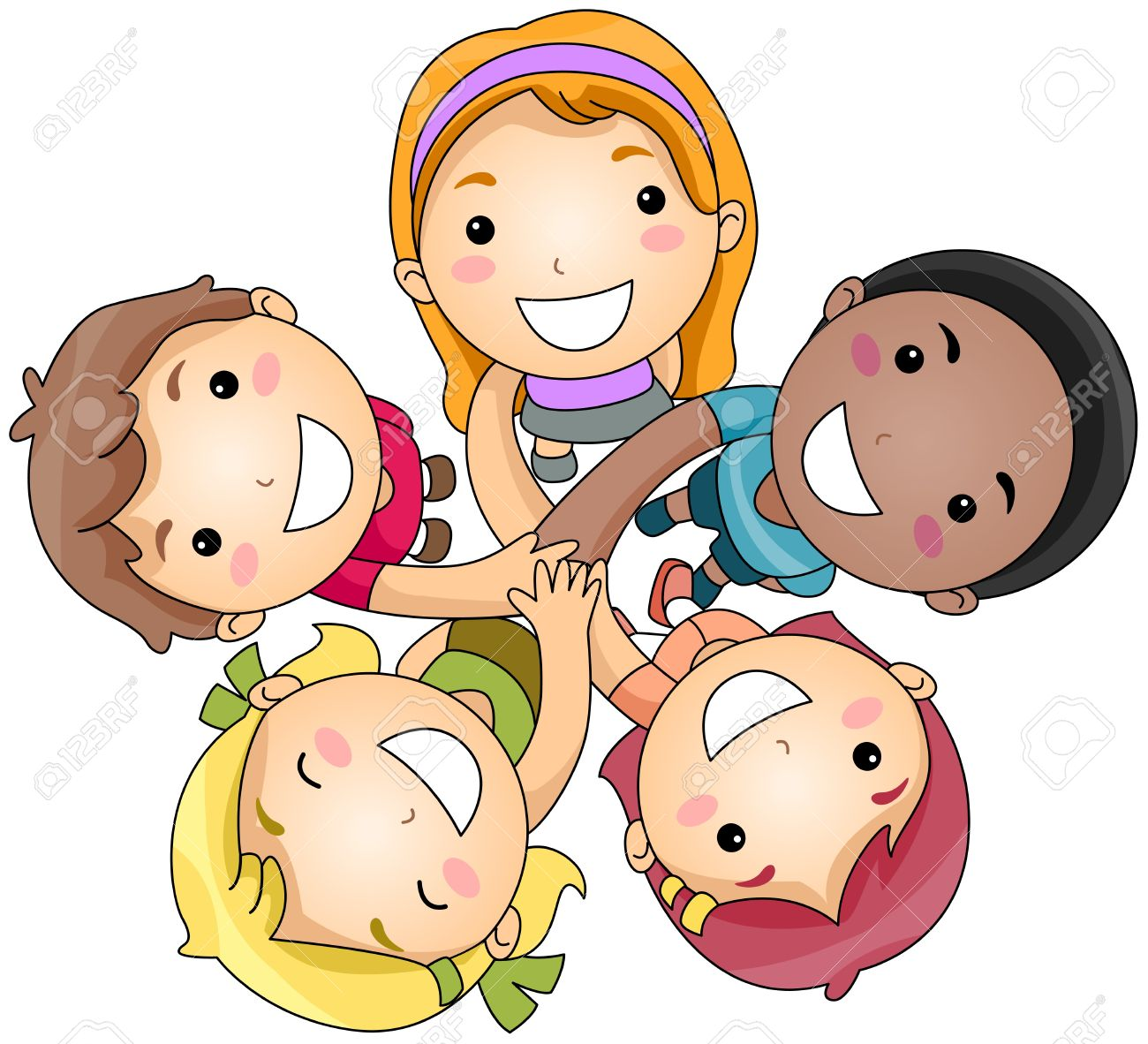 friends cartoon illustration of a small group of children joining hands - Cartoon Picture Of Child