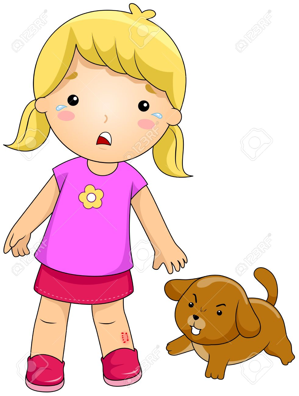 Illustration of a Girl Bitten by a Dog Stock Illustration - 8329096