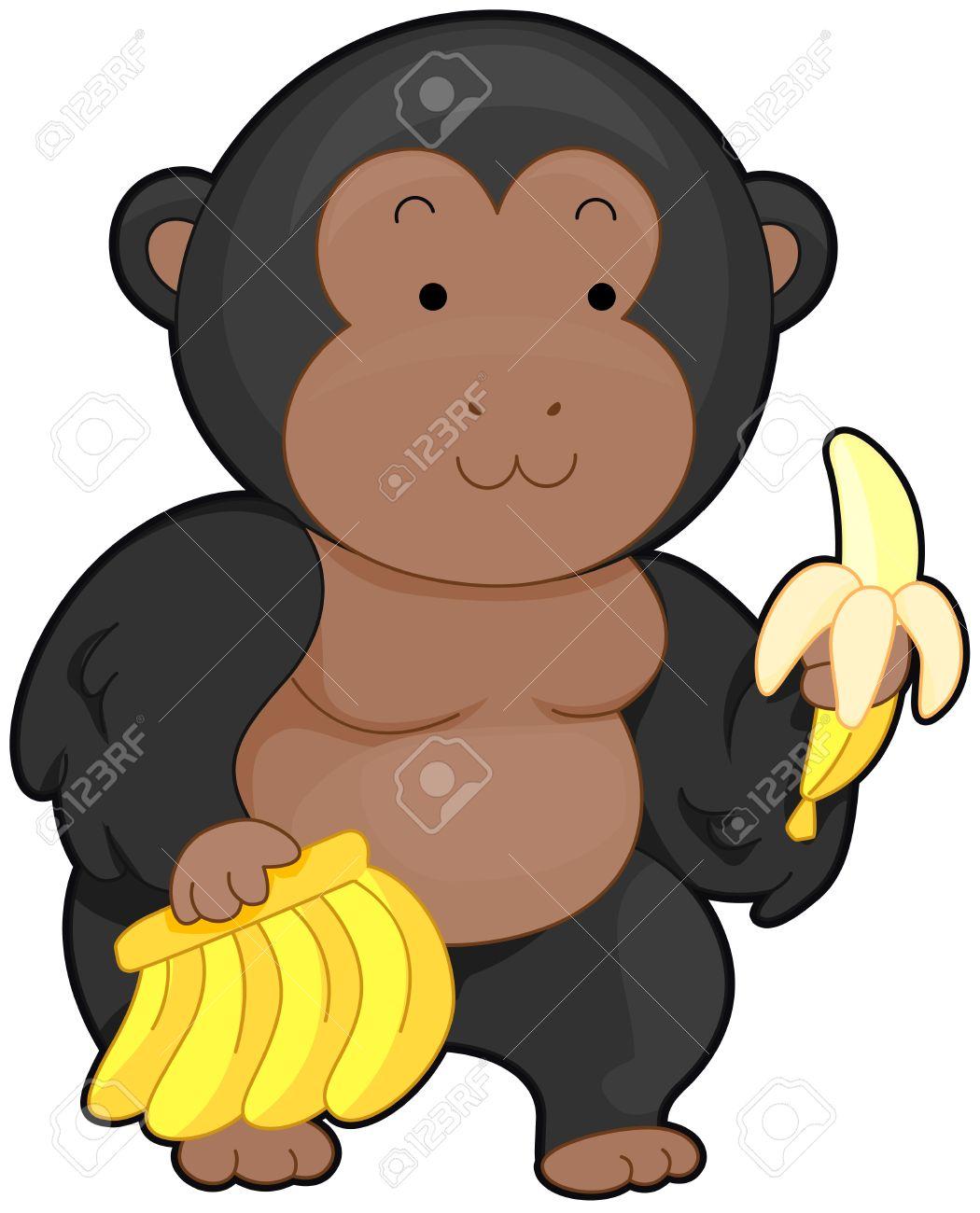 バナナを運ぶかわいいゴリラのイラスト の写真素材画像素材 Image 8329045