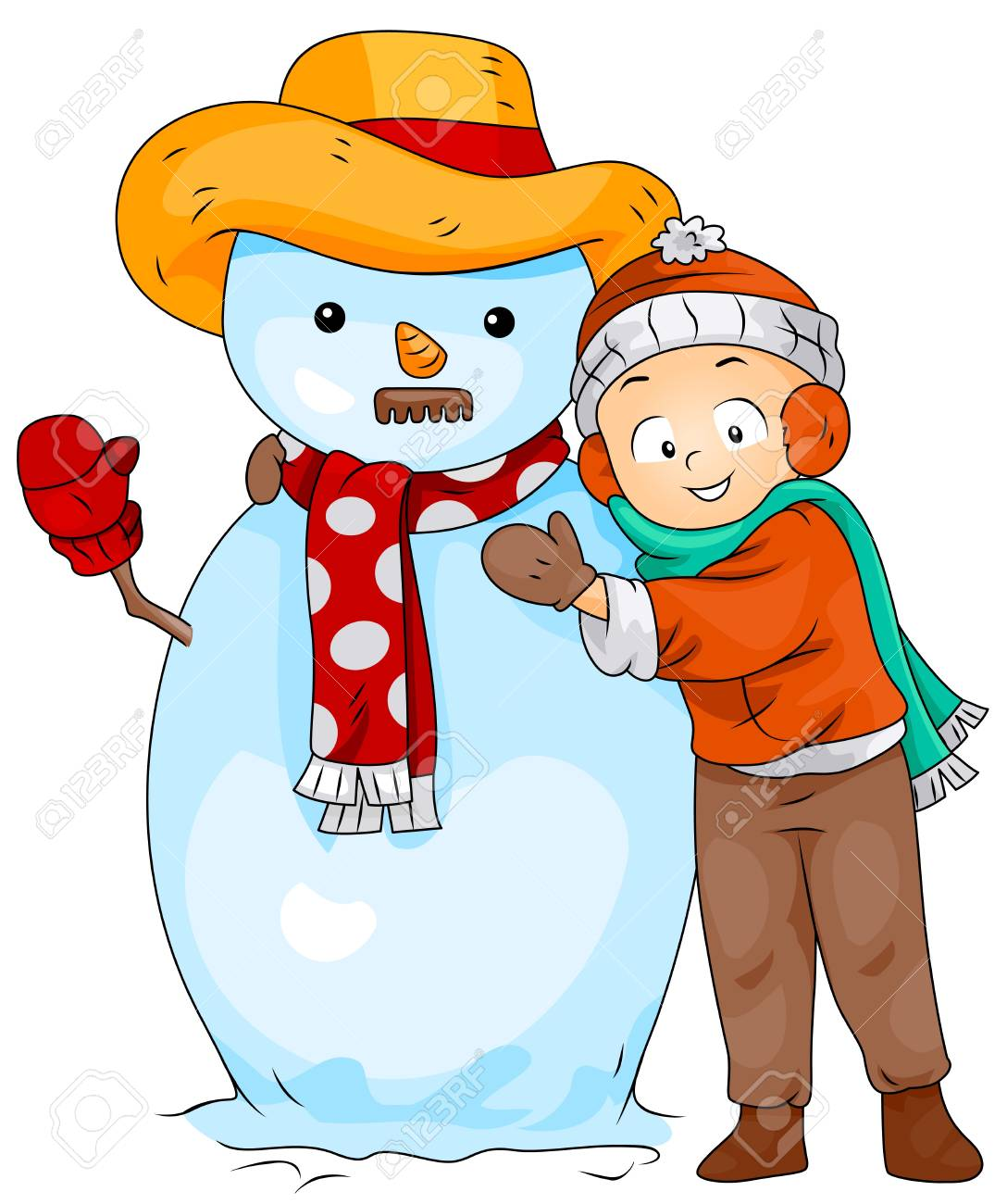 Illustration of a Little Boy Posing Next to a Snowman Stock Photo - 8360911