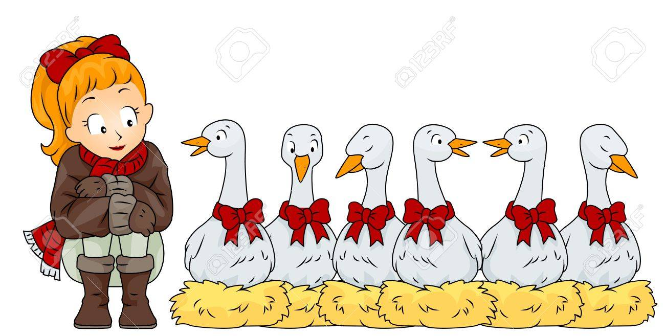 Illustration of a Woman Sitting Side by Side with 6 Geese A Laying (6 of 12) Stock Illustration - 8360889