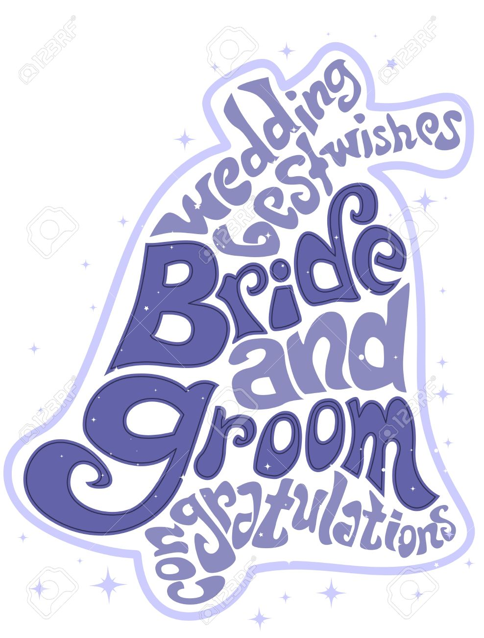 illustration featuring wedding related words forming the shape