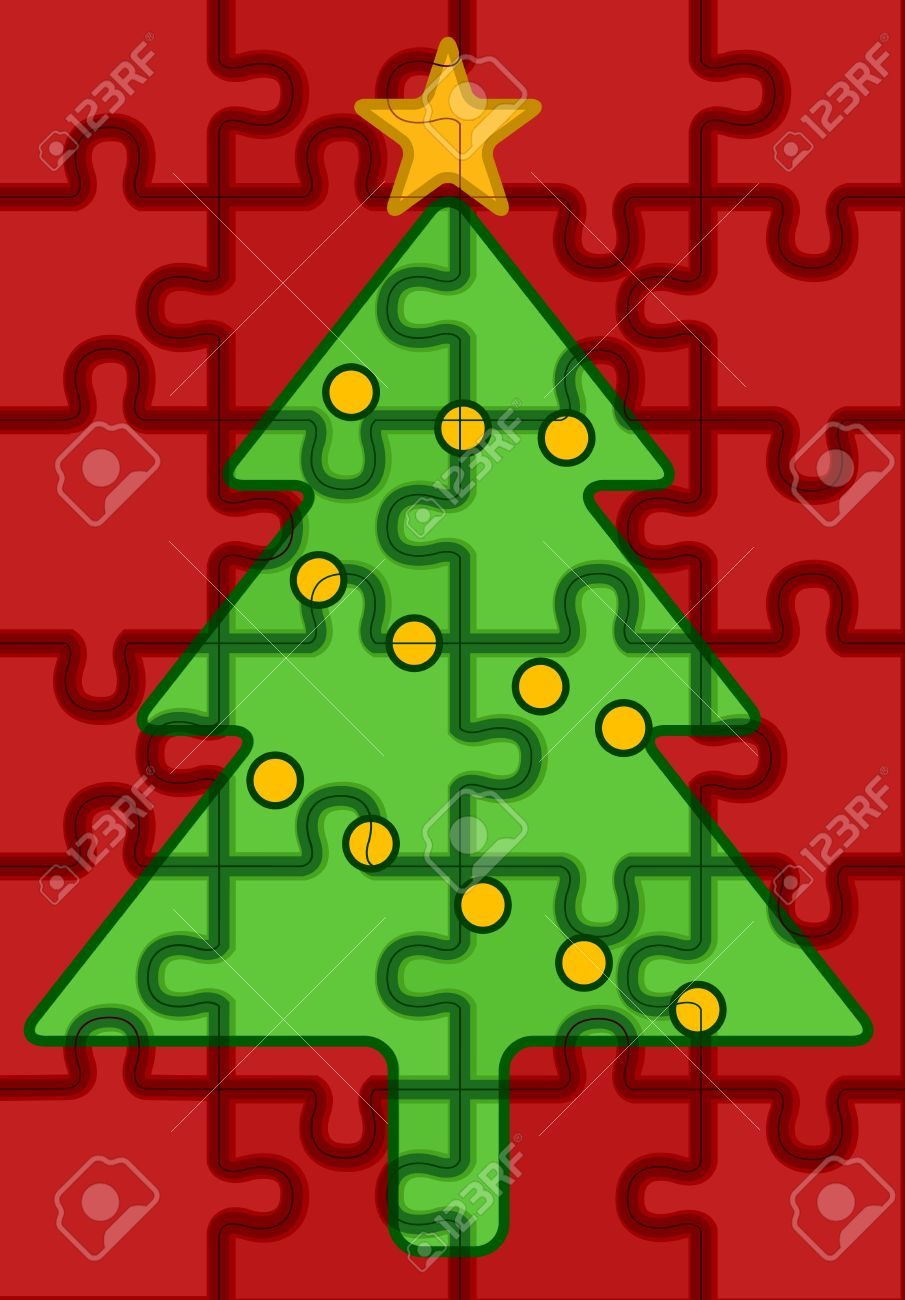 Charming JIgsaw Puzzle Pieces Forming A Christmas Tree Design Stock Photo   8427181