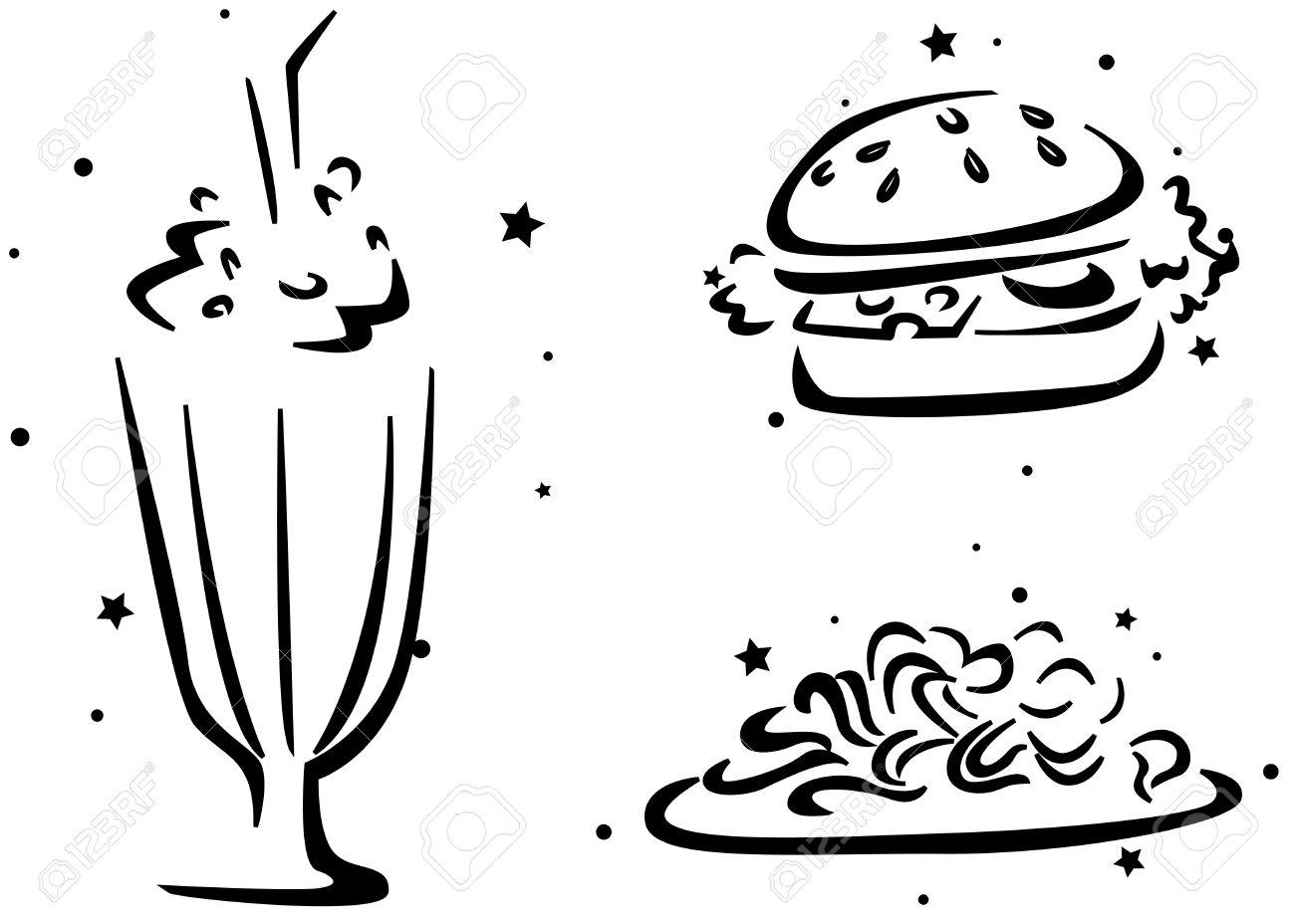 Galería De Símbolos De Alimentos Con Un Vaso De Batido Una Hamburguesa Y Algunos Pasta