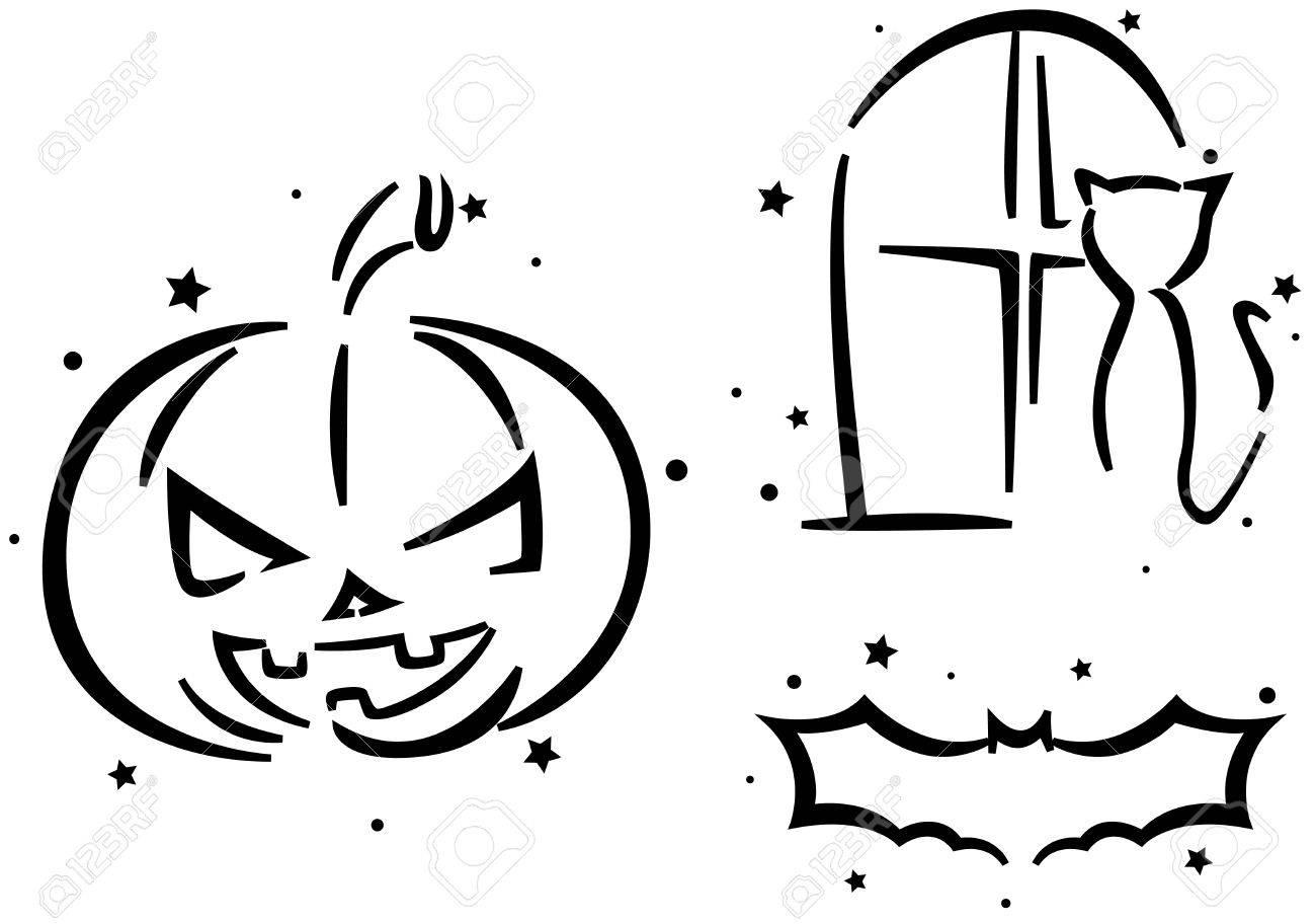 halloween stencil featuring a jack o lantern a cat and a bat