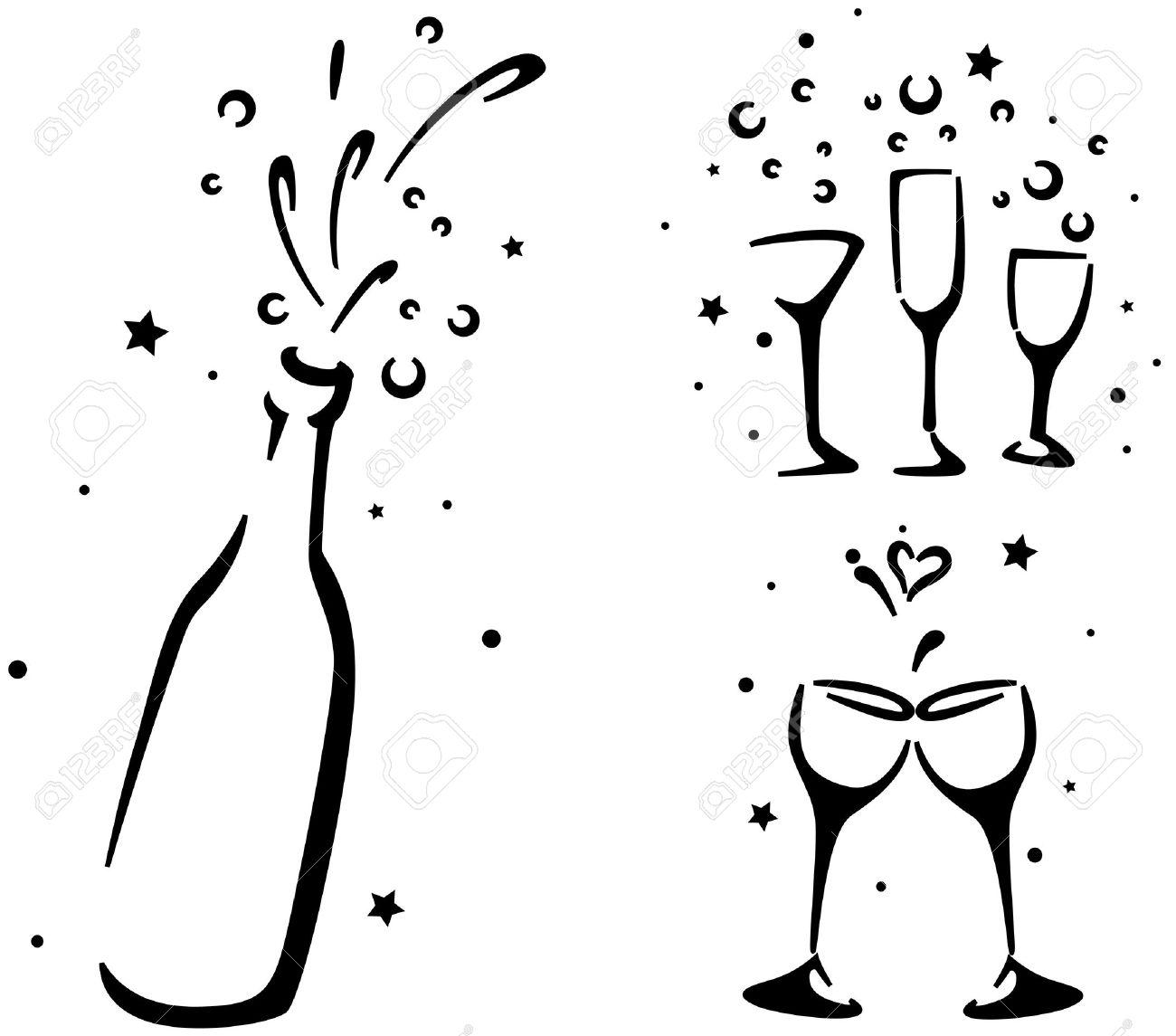 Boda Galería De Símbolos Que Copas De Vino Y Una Botella De Champagne