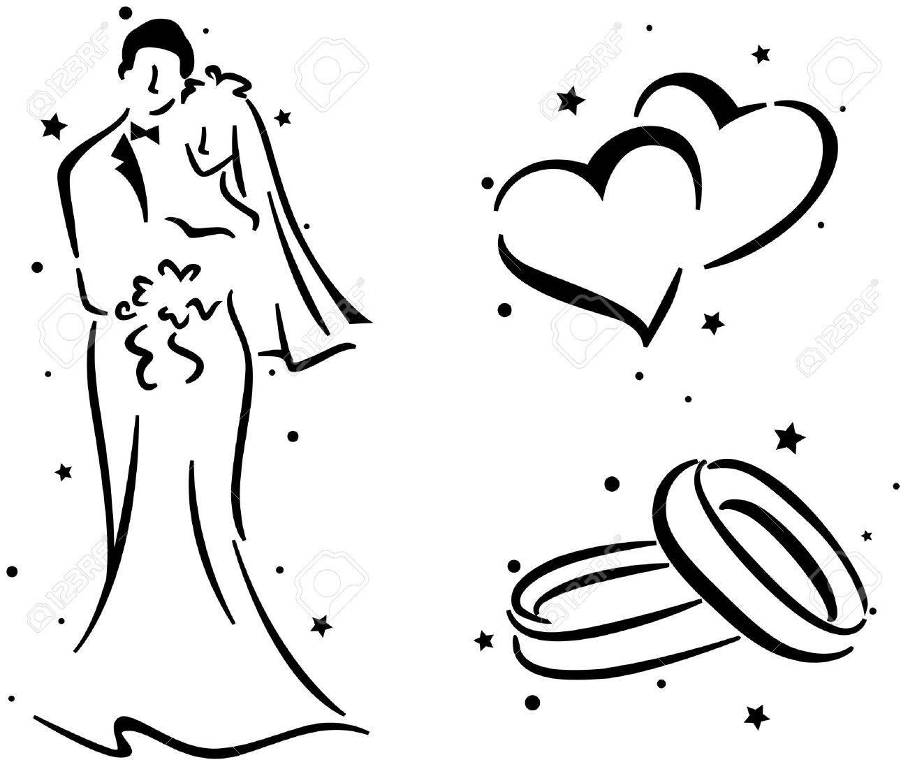 Eheringe clipart schwarz weiß  Hochzeit Stencil Mit Ein Paar, Ein Paar Der Ringe Und A Pair Of ...