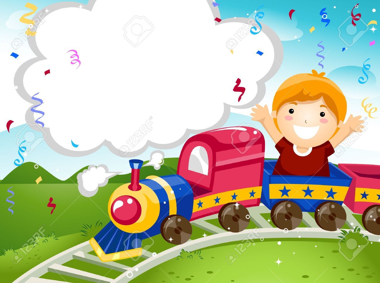 Party Invitation Featuring a Kid Riding on a Toy Train Stock Photo - 8427178