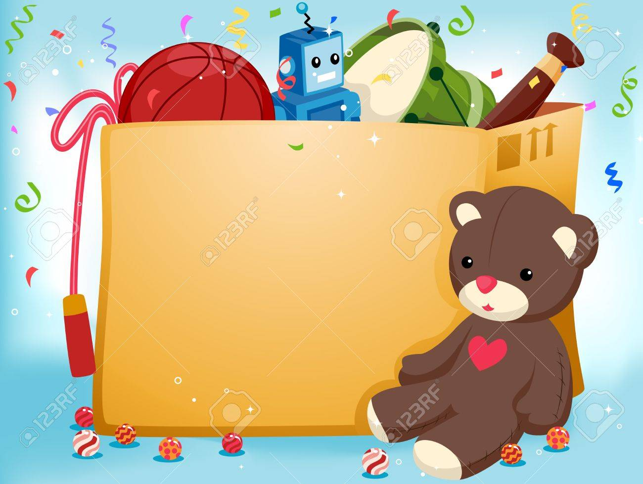 Party Invitation Featuring a Stuffed Toy Sitting Beside a Box of Toys Stock Photo - 8427175