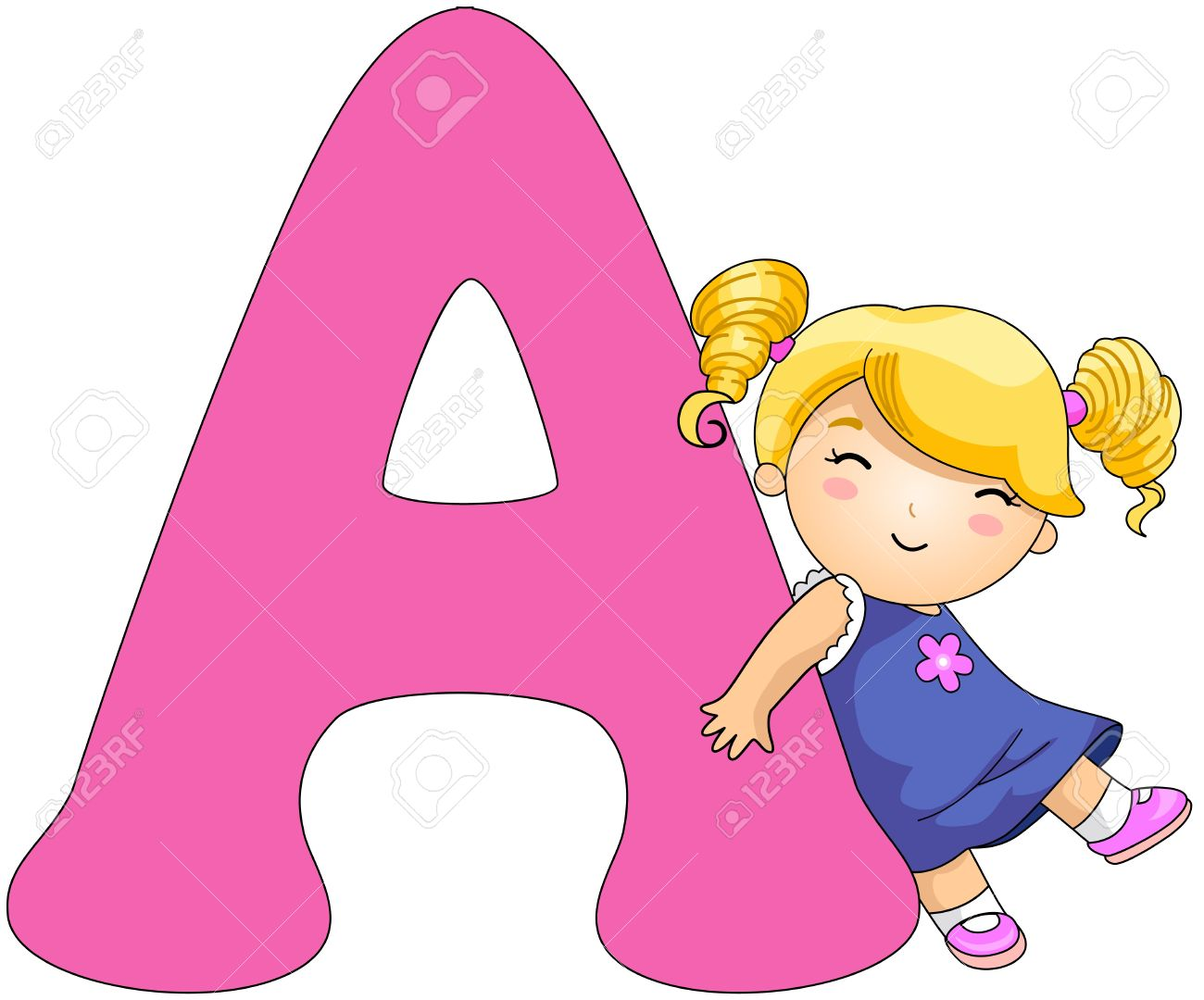 Illustration of a Girl Resting Against a Letter A Stock Photo - 8427159