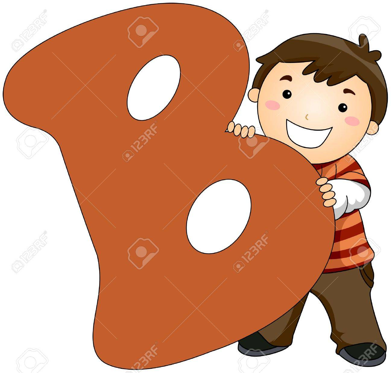 Illustration of a Little Boy Hiding Behind a Letter B Stock Photo - 8427150