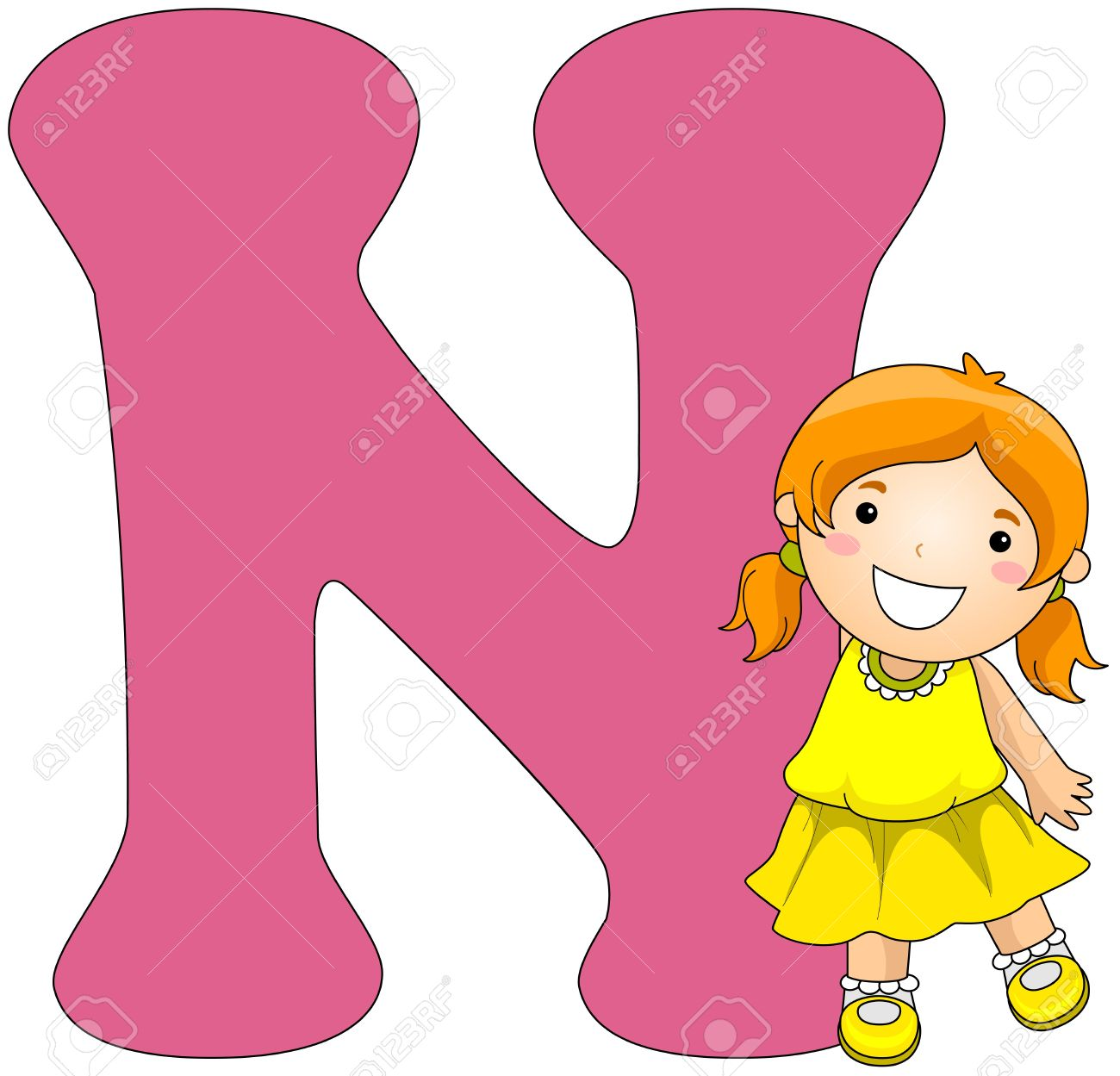 Illustration Of A Girl Posing Beside A Letter N Stock Photo Picture