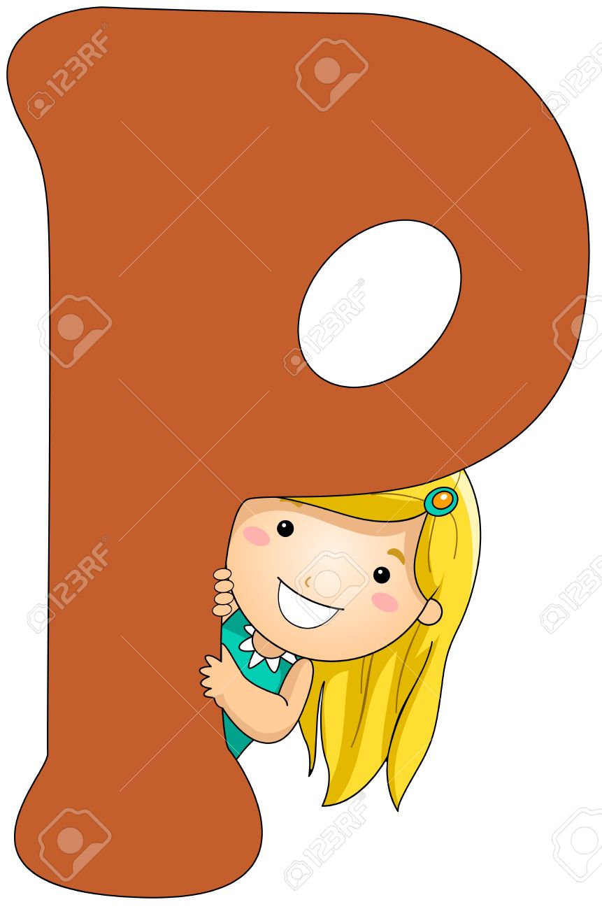 Illustration of a Girl Peeking From Behind a Letter P Stock Illustration - 8427101