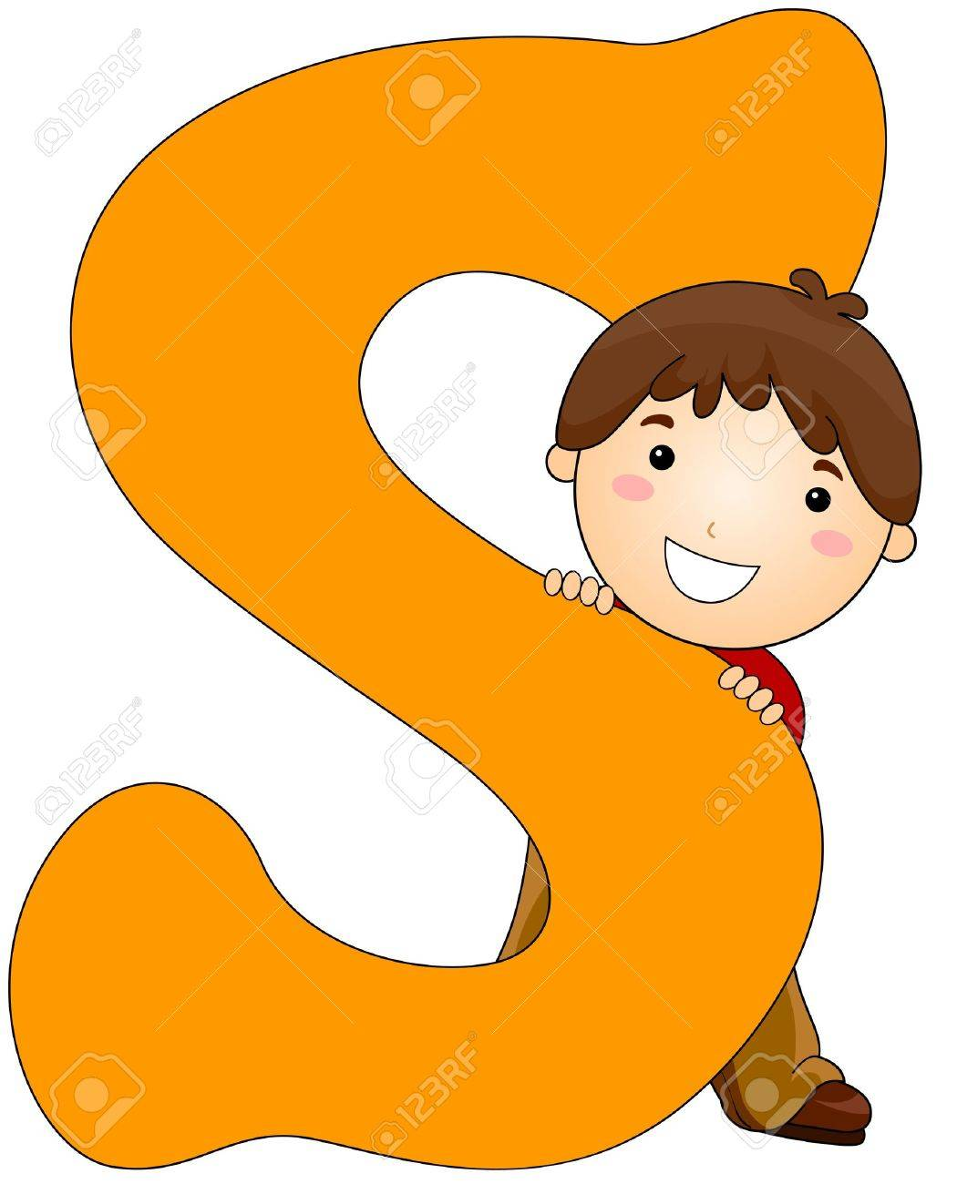Illustration of a Little Boy Hiding Behind a Letter S Stock Photo - 8427119