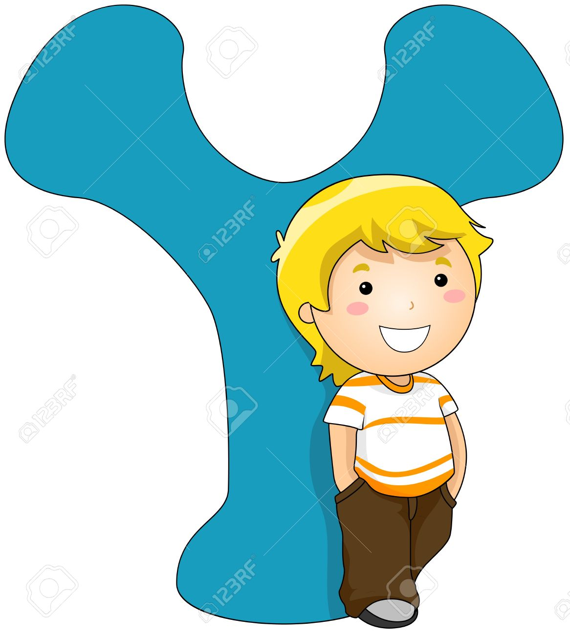 illustration of a boy standing beside a letter y stock photo