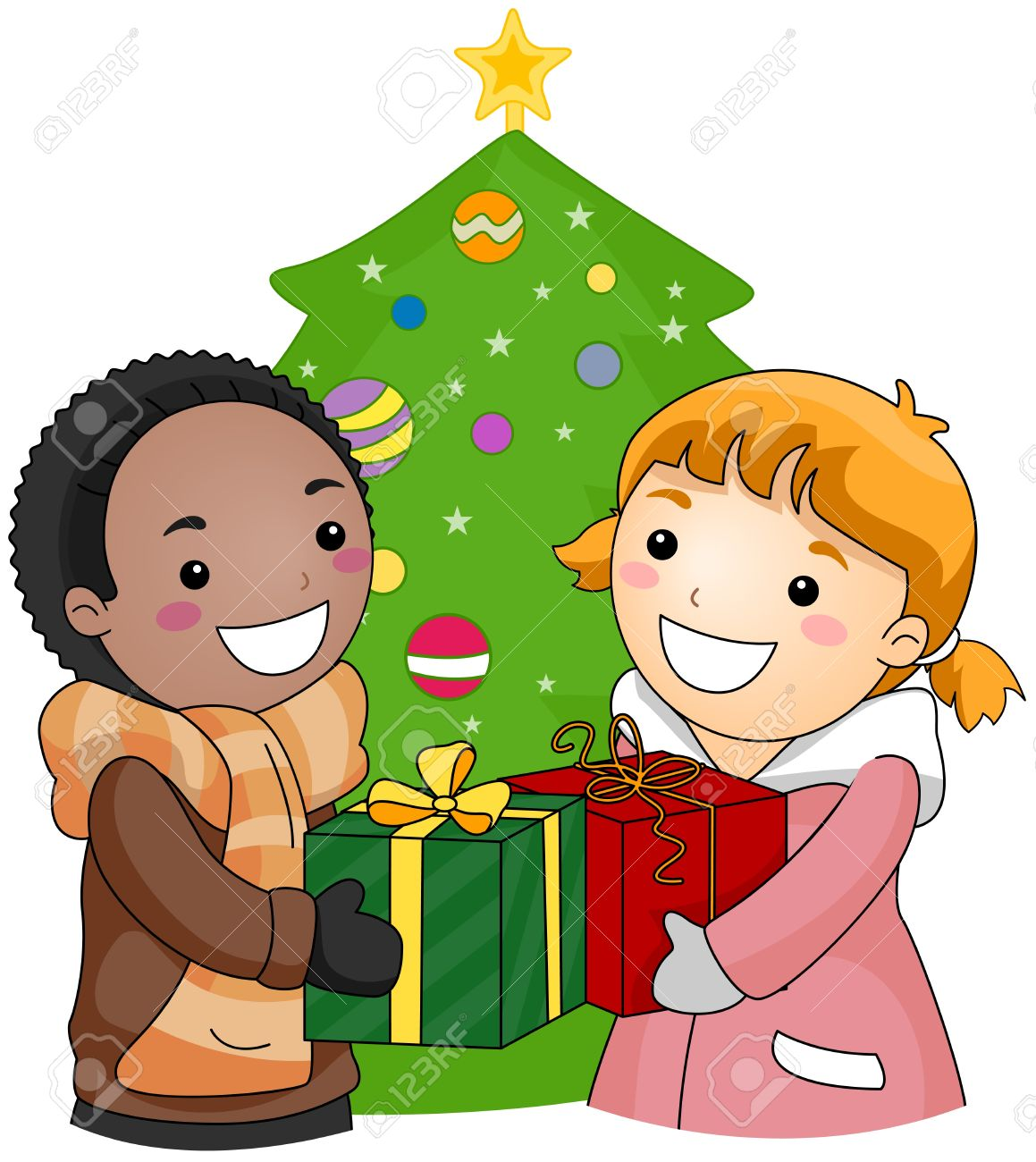 Illustration Eines Jungen Und Mädchen, Die Austausch Von Geschenken ...