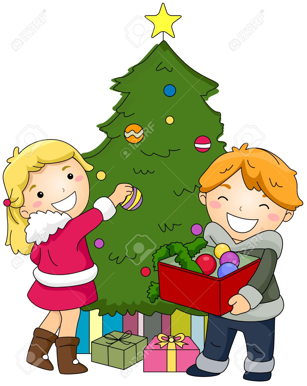 Kids Decorating For Christmas illustration of kids decorating a christmas tree stock photo