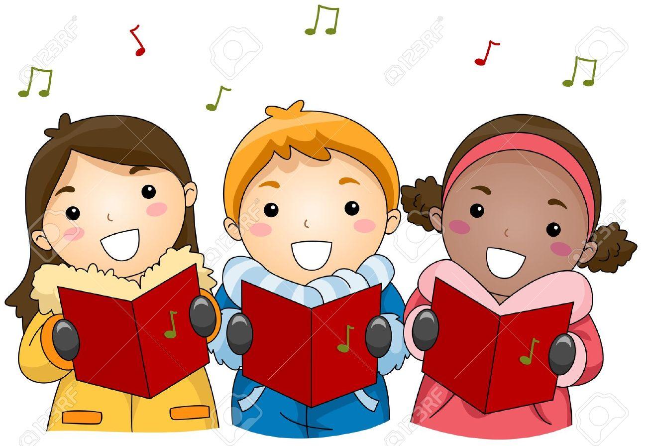 Illustration Of Kids Singing Christmas Carols Stock Photo, Picture ...