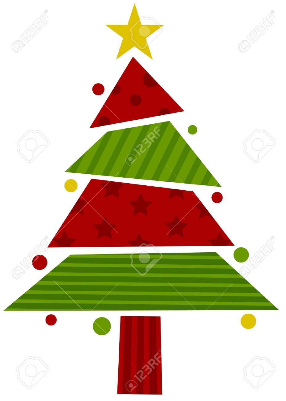 christmas tree design featuring assorted pieces of wrapping paper