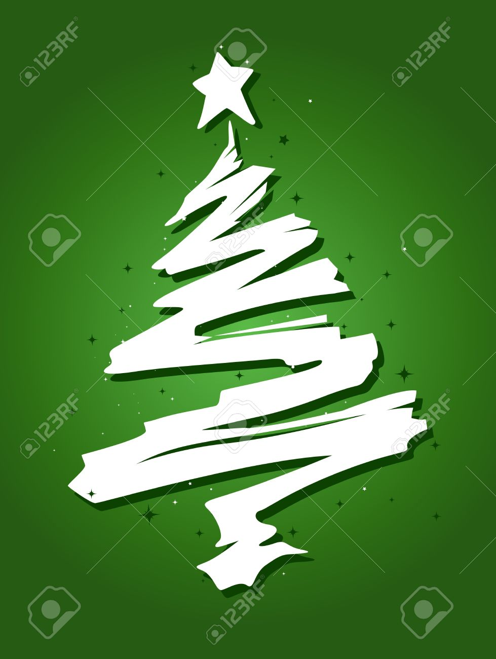 christmas tree design featuring a trail of paint shaped like