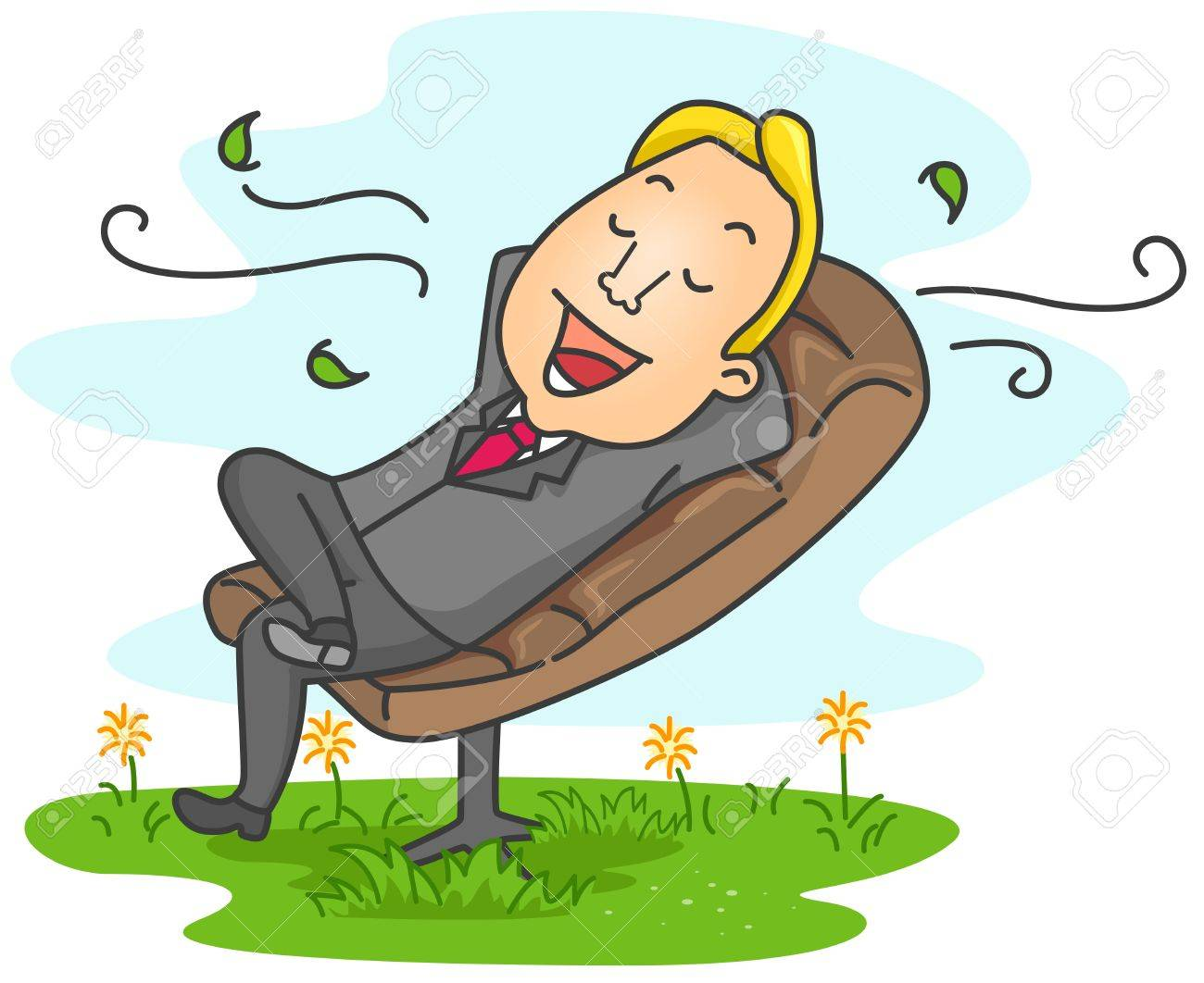 Illustration of a Businessman Relaxed at his Office Stock Photo - 8492660