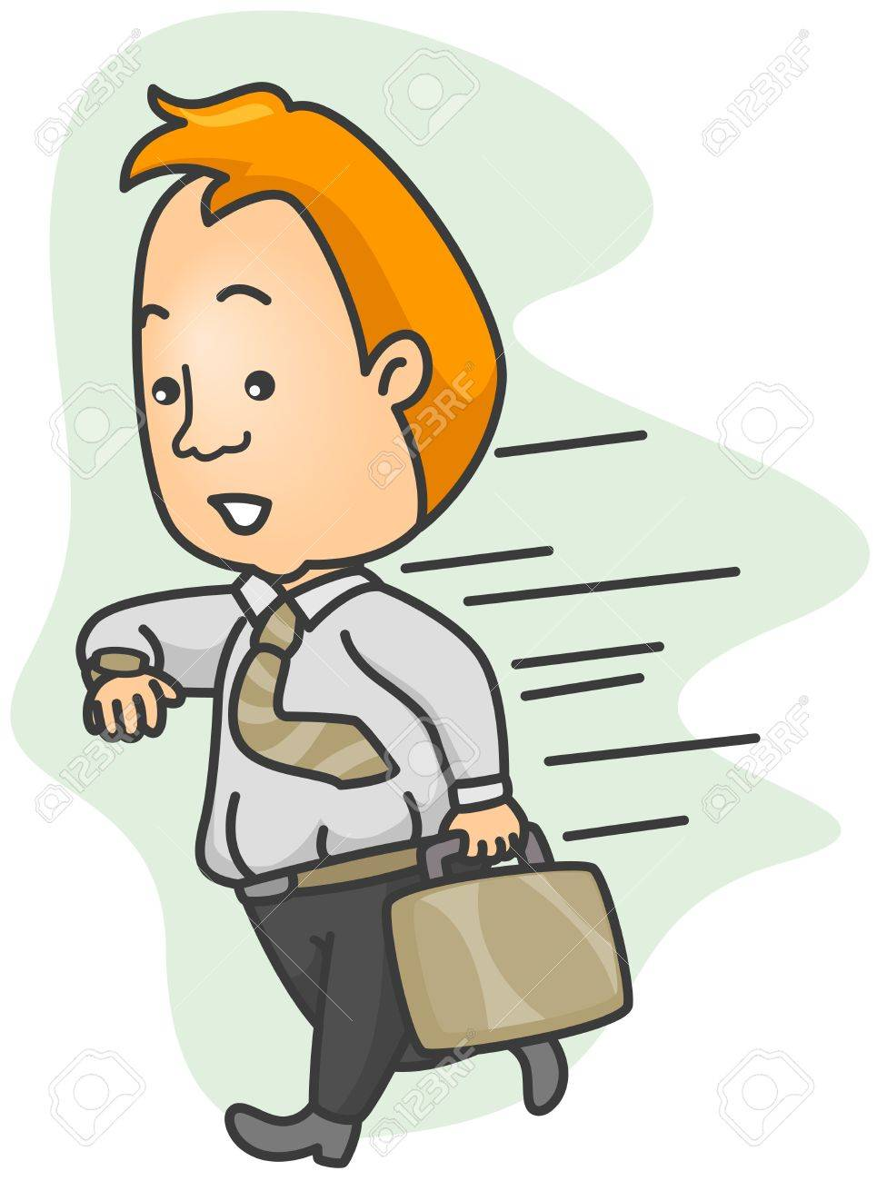 Illustration of a Man Running Late for Work Stock Photo - 8492641
