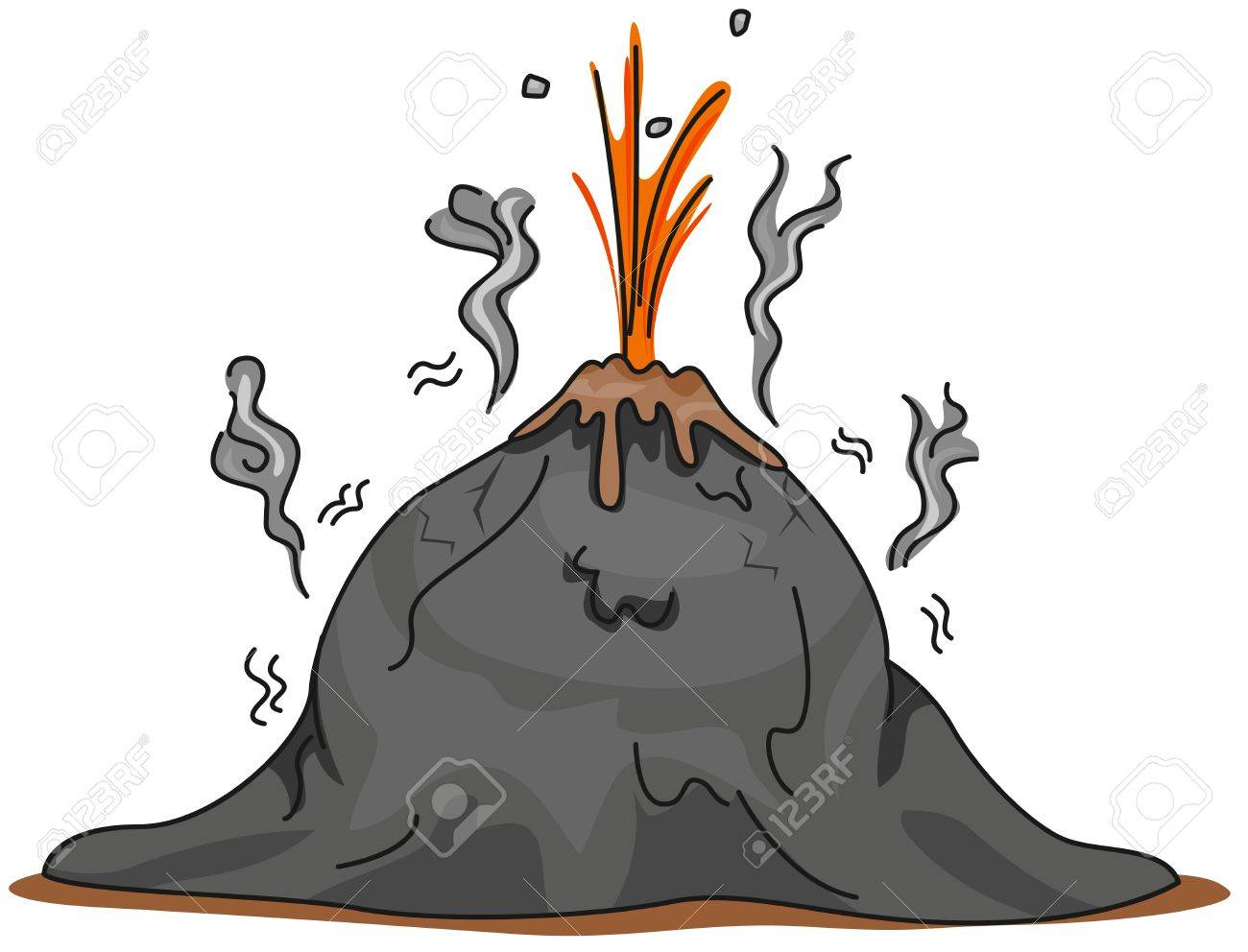 Illustration of a Volcano About to Erupt Stock Illustration - 8517120