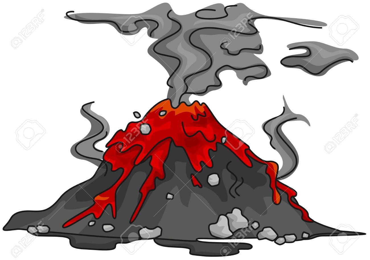 Illustration of a Volcano That Has Just Erupted Stock Photo - 8517139