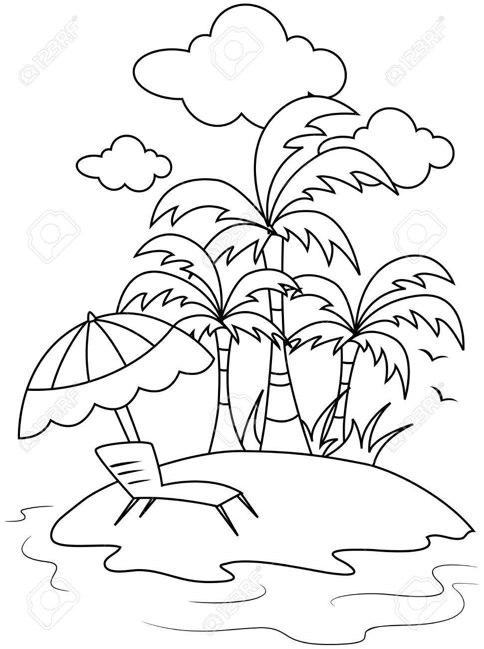 Arte De Línea Ilustración De Una Pequeña Isla Con Un Paraguas De ...