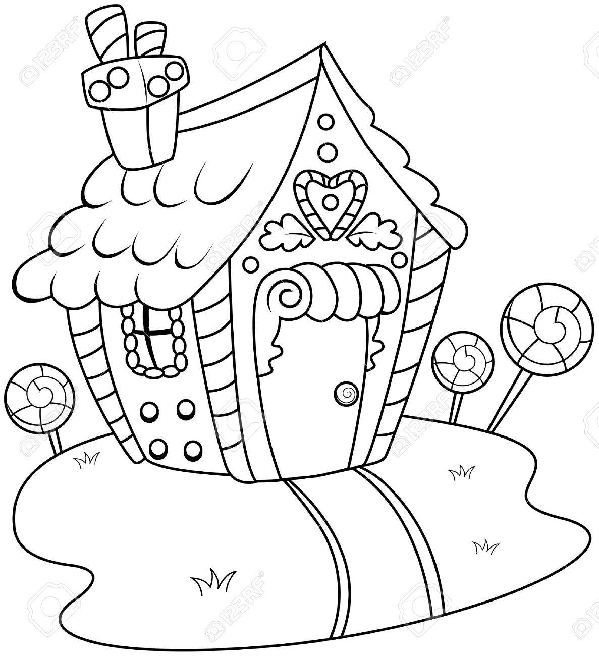 line art illustration of a gingerbread house stock photo picture