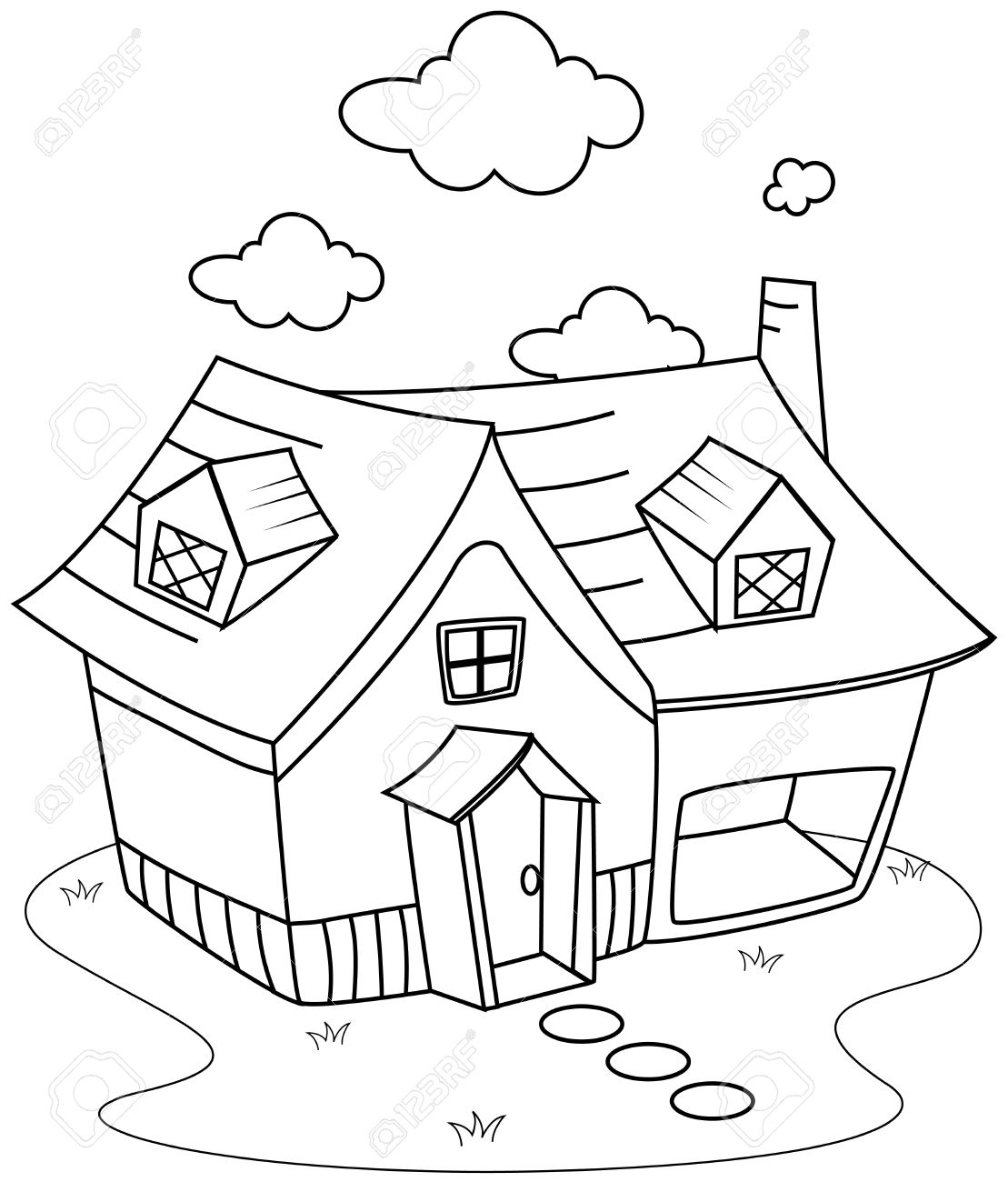 Line Art Illustration of a Cute Little House Stock Photo - 8517173