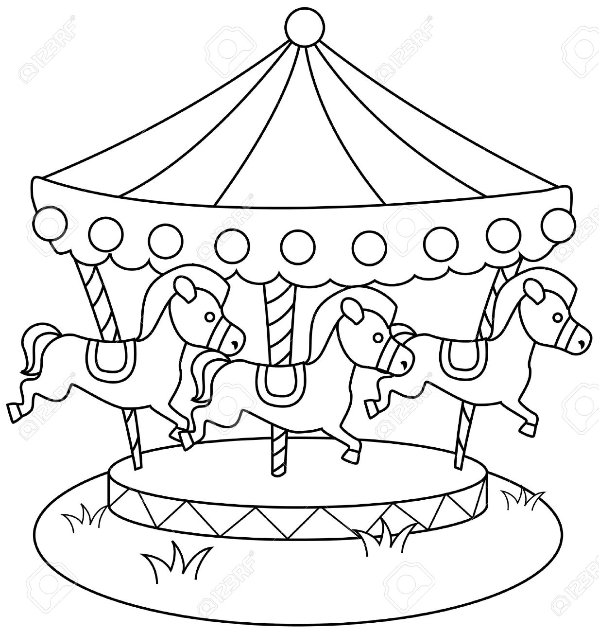 Раскраска карусель с лошадками