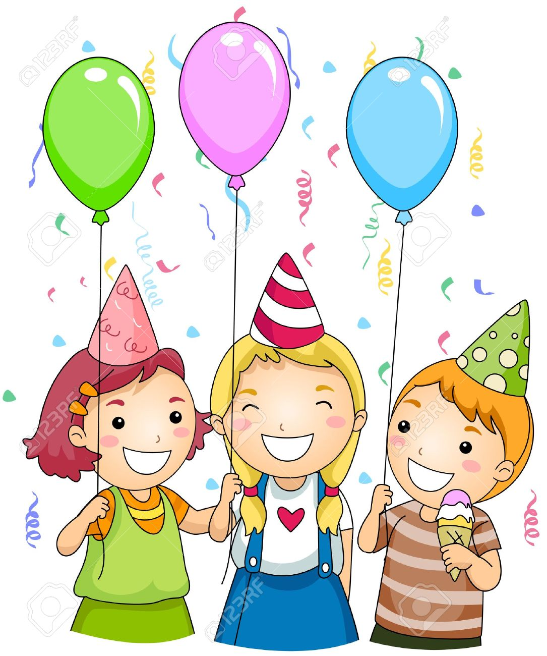 Illustration of Kids Holding Colorful Balloons at a Party Stock Photo - 8550080