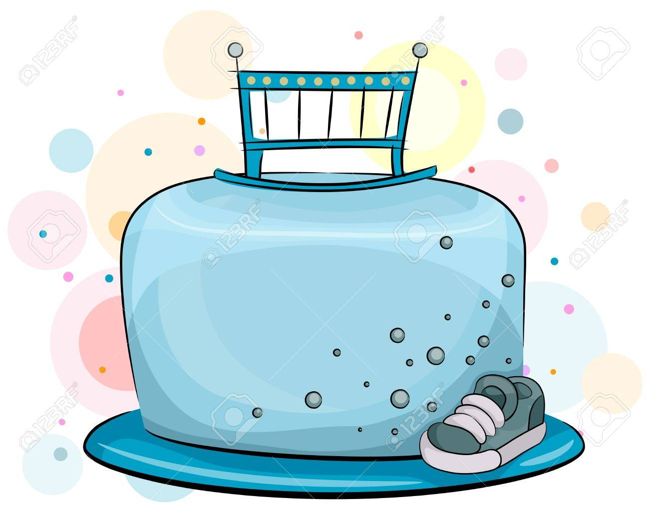 Illustration Of A Baby Boy Birthday Cake With Masculine Theme Stock